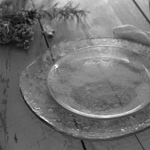 Annieglass Pine Plate/Platter 12 Inch - Satin Silver