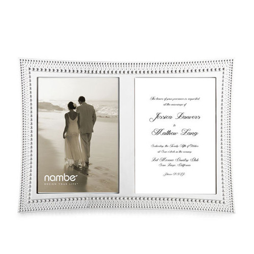 Nambe Beaded  Double Invitation Picture Frame MT0922