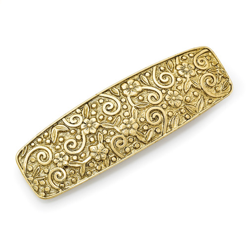 1928 Flower and Swirl Hair Barrette Gold-tone BF2934