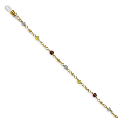 1928 Multi Colored Glass Beads 32 Inch Eyewear Holder Gold-tone BF3056