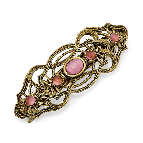 1928 Pink Acrylic Stones Hair Barrette Gold-tone BF2944