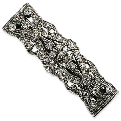 1928 Antiqued Crystal Barrette Silver-tone BF346