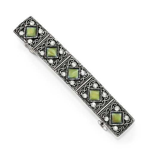 1928 Crystal and Mother of Pearl Hair Barrette Silver-tone BF3039