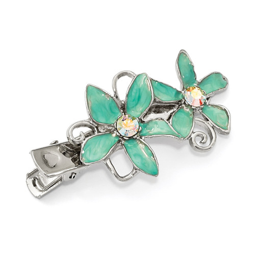 1928 Crystal and Teal Enamel Hair Clip Silver-tone BF3044