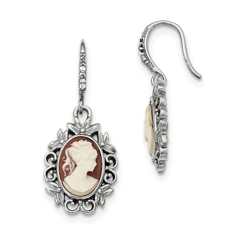 1928 Acrylic Cameo Glass Crystal Shepherd Hook Earring Silver-tone Downton Abbey BF2883