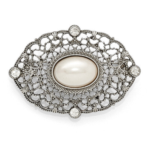 1928 Clear Glass and Simulated Pearl Oval Pin Silver-tone Downton Abbey BF2184