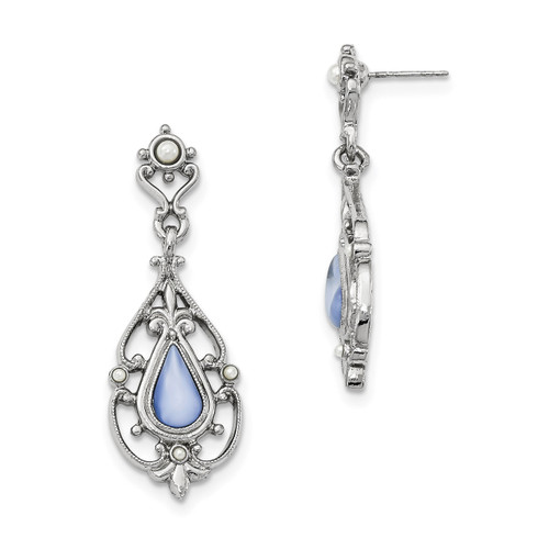 1928 Glass Blue Moonstone Acrylic Pearl Dangle Earring Silver-tone Downton Abbey BF2893