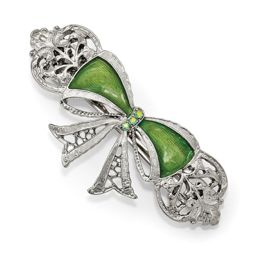 1928 Green Crystal and Enamel Bow Hair Barrette Silver-tone BF3040