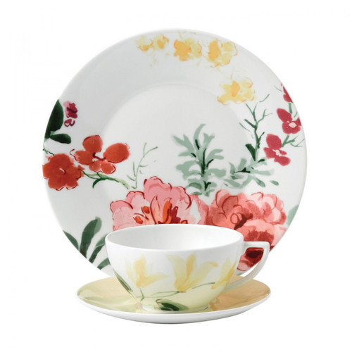 Wedgwood Jasper Conran Floral 3-Piece Set Buttercup Teacup Saucer and Plate 9 Inch