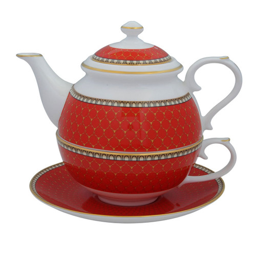 Halcyon Days Antler Trellis Tea For One Red BCGAT06TOG