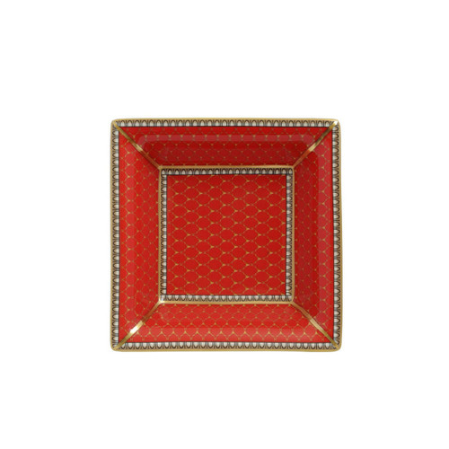 Halcyon Days Antler Trellis Square Tray Red BCGAT06STG