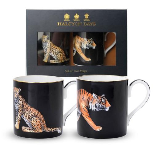 Halcyon Days Tiger & Leopard Mug Gift Set BCMLT02MSG