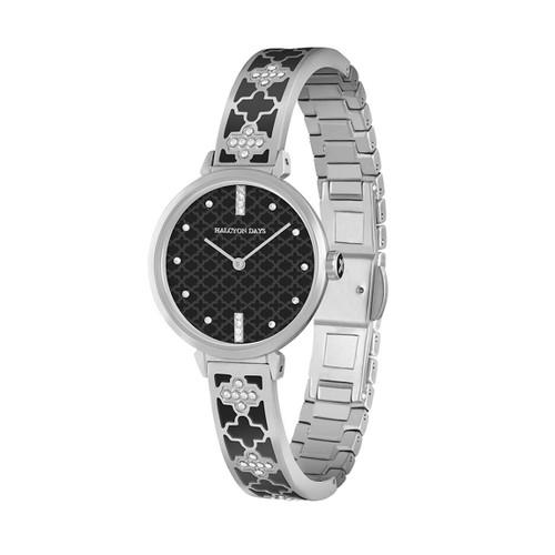 Halcyon Days Agama Sparkle Bangle Watch Black Palladium WTAGS02BAP