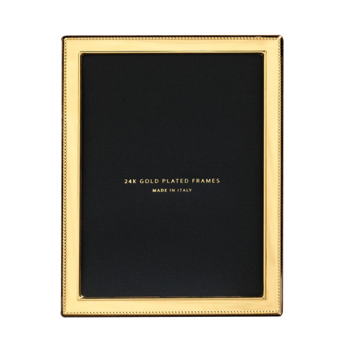 Cunill Bead 1/2 Inch Border 5 x 7 Inch Picture Frame - 24k Gold Plated 0.5 Microns