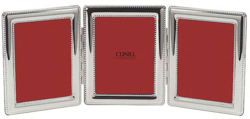 Cunill Beaded Triple 4 x 6 Inch Picture Frame - Silverplated