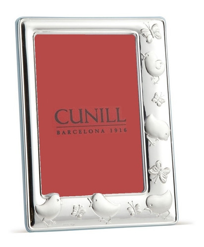 Cunill Chicks & Butterflies 4 x 6 Inch Picture Frame Blue back - Sterling Silver