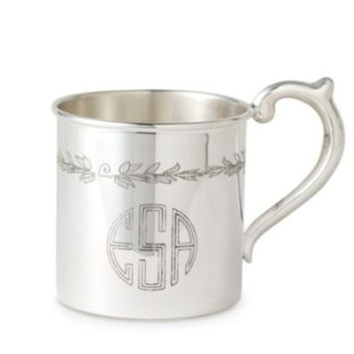 Cunill Floral Sterling Baby Cup - H: 2 1/8 Inch x Dia: 2 3/8 Inch - Sterling Silver