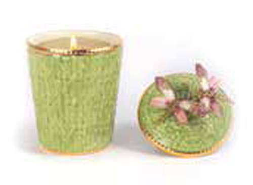 Jay Strongwater Ivy Rose Celadon Dragonfly Candle