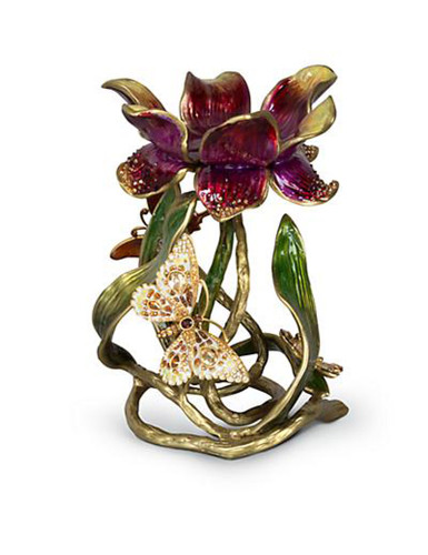 Jay Strongwater Meredith Flora Floral 9 Inch Pillar Candle Holder