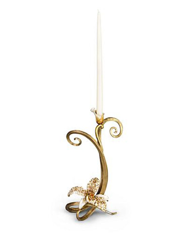 Jay Strongwater Mirabelle Golden Orchid Single Candlestick