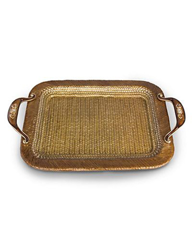 Jay Strongwater Abbott Amber Rattan Metal Tray