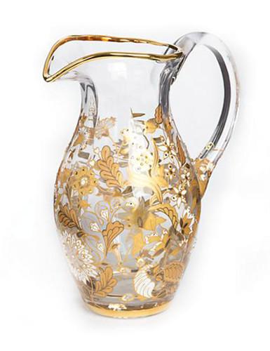 Jay Strongwater Arabella Platinum Floral Vine Pitcher