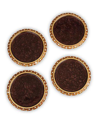 Jay Strongwater Bentley Amber Jeweled Edge Coasters Set of Four