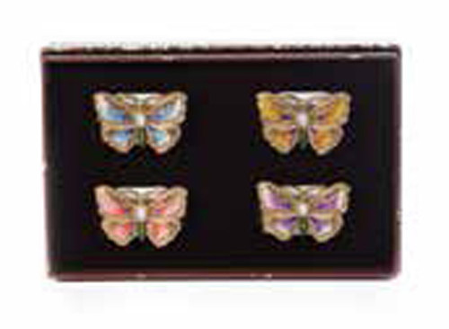 Jay Strongwater Veronica Flora Butterfly Napkin Rings Set of Four