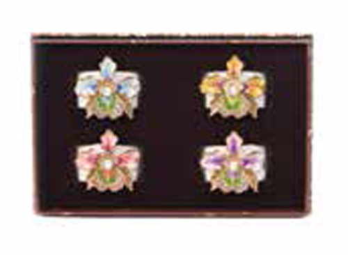 Jay Strongwater Kayla Flora Orchid Napkin Rings Set of Four