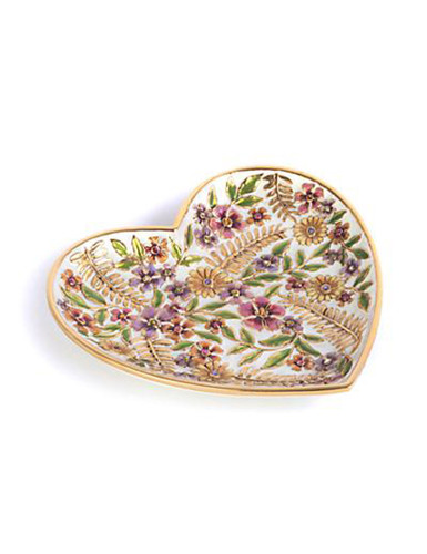 Jay Strongwater Aria Flora Floral Heart Trinket Tray