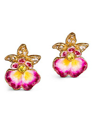 Jay Strongwater Anastasia Flora Orchid Post Earrings