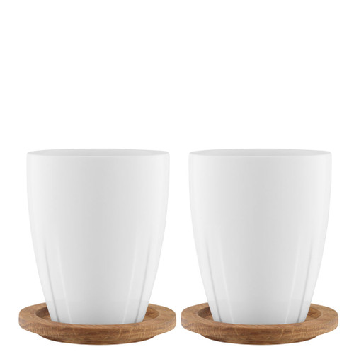 Kosta Boda Bruk Mug With Oak Lid Porcelain Pair