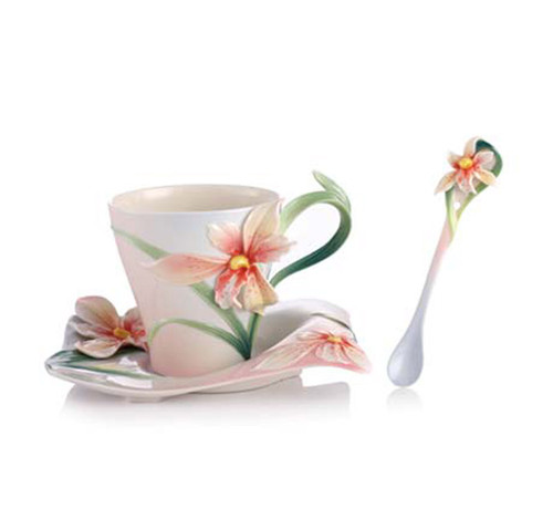 Franz Porcelain Tea Cup Saucer Spoon Four Seasons Orchid FZ02901