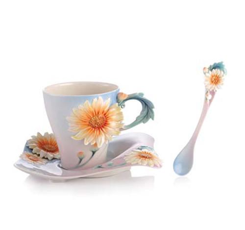Franz Porcelain Tea Cup Saucer Spoon Four Seasons Chrysanthemum FZ02924