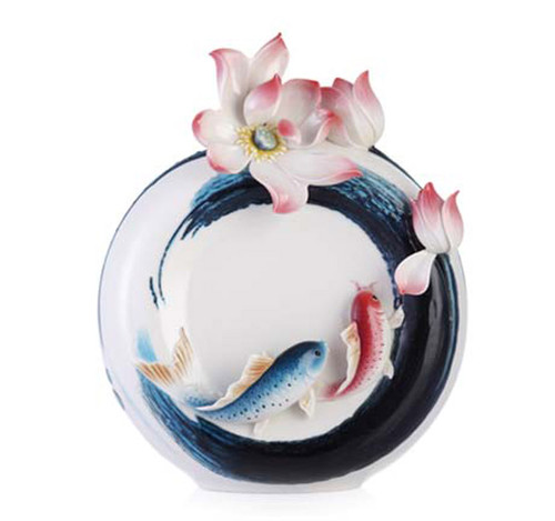 Franz Porcelain Vase Carp And Lotus FZ03286