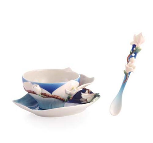 Franz Porcelain Tea Cup Saucer Spoon Magnolia FZ03464