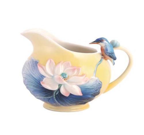 Franz Porcelain Creamer Lotus & Kingfisher FZ03486