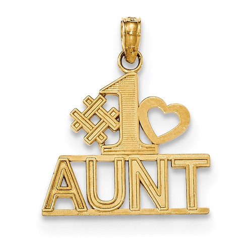 #1 Aunt with Heart and Block Pendant 14k Gold Polished K5215