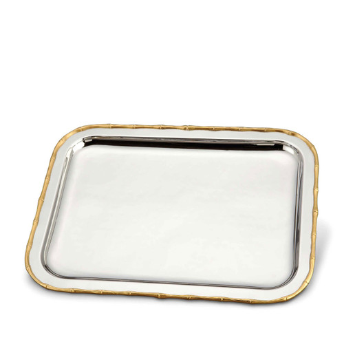 L'Objet Evoca Rectangular Platter Large 24k Gold-Plated