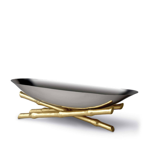L'Objet Bambou Serving Boat Large 24k Gold-Plated Stainless Steel