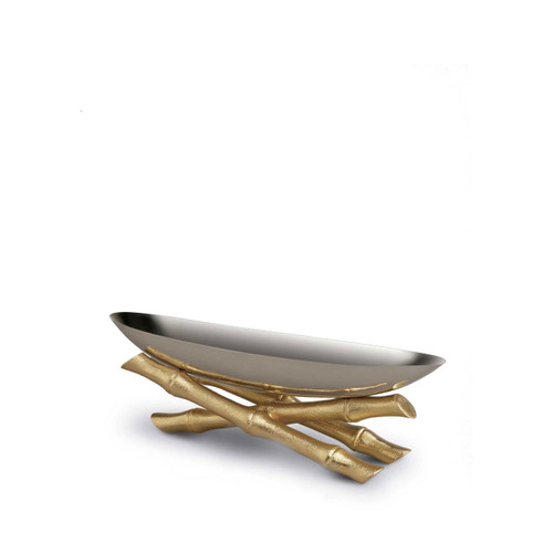 L'Objet Bambou Serving Boat Small 24k Gold-Plated Stainless Steel