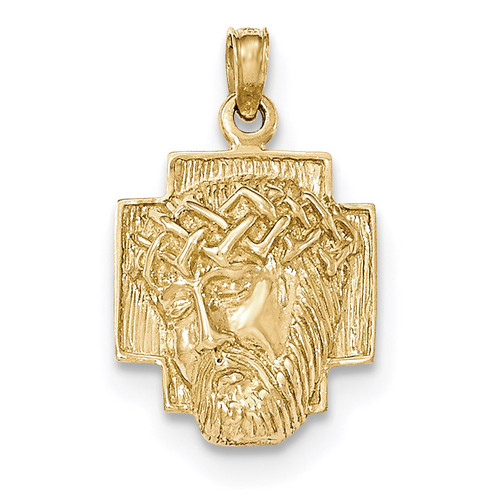 2-D Small Jesus Head with Crown Pendant 14k Gold Polished K5585