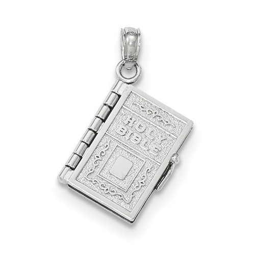 Satin & Polished 3-D Holy Bible Book with Lords Prayer Pendant 14k white Gold K5684