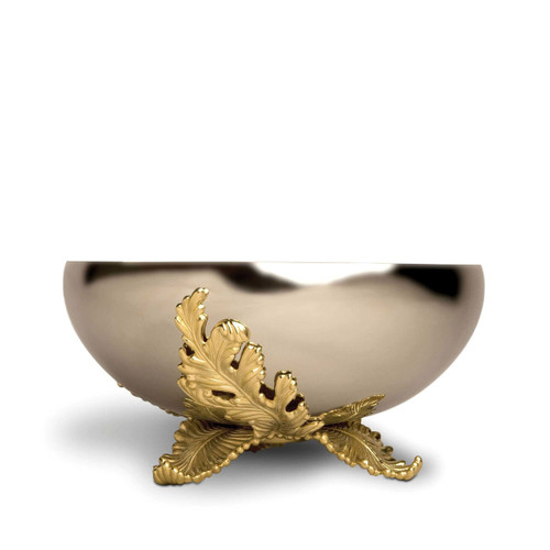 L'Objet Lamina Large Bowl Handcrafted Stainless Steel with 24k Gold-Plated leaf accents.