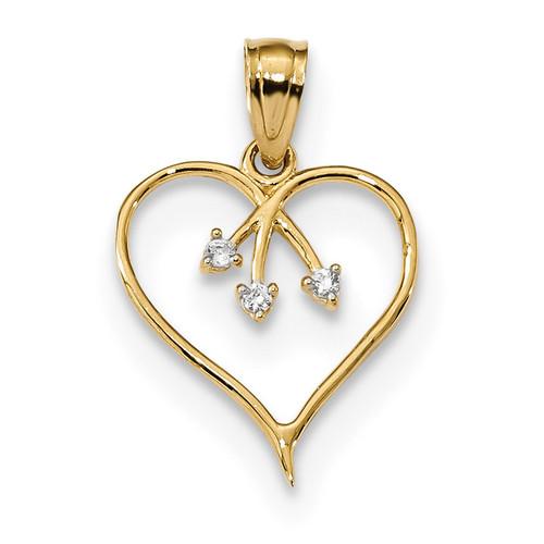3-CZ Cut-out Heart Pendant 14k Gold K5864