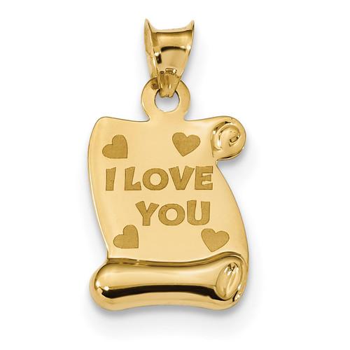 14k Polished/Textured I LOVE YOU Pendant 14k Gold Polished K5880