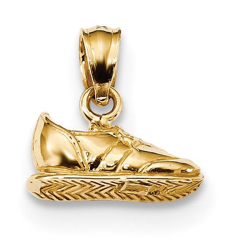 3-D Sneaker Pendant 14k Gold Polished K6130