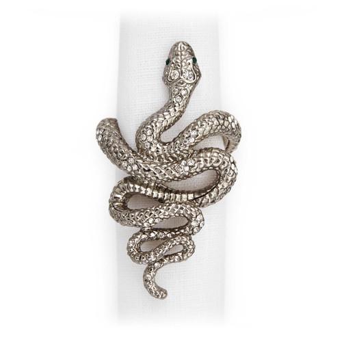 L'Objet Platinum with White Crystals Snake Napkin Holder