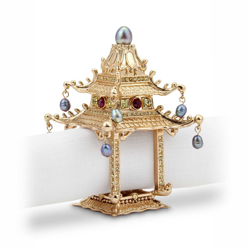 L'Objet Gold with Fresh Water Pearls and Yellow Crystals Set of Two Pagoda Napkin Holder