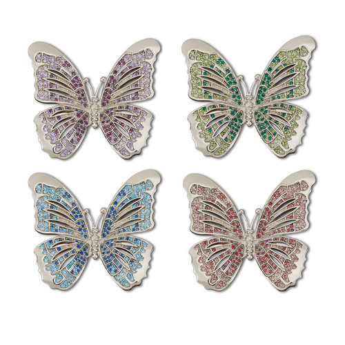 L'Objet Platinum with Multi-Color Crystals Butterfly Napkin Holder